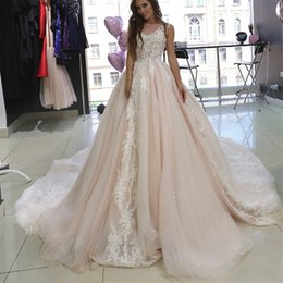 Lace Bead Illusion Wedding Dress Australia - Modern Lace Ball Gown Wedding Dresses 2019 Illusion Neckline Bead Lace Appliques Sequin Tulle Wedding Dress Bridal Gown with Long Train