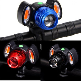 Wholesale USB Charging Mountain Bike Cycling Lights Multi Function Practical Head Light Black Red Blue Warning Lamp LJJZZA173