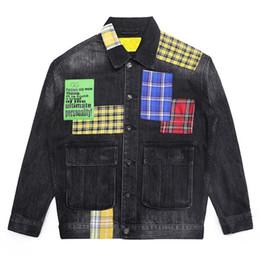 $enCountryForm.capitalKeyWord Australia - Mcikkny Hip Hop Men's Fashion Motorcycle Denim Jackets Washed Vintage Plaid Patchwork Biker Jeans Jackets Streetwear For Male