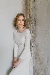 $enCountryForm.capitalKeyWord Australia - 2019 A-line Long Boho Modest Wedding Dress With Long Sleeves Simple Vintage Lace Informal Bridal Gowns Sleeved LDS Wedding Dress Custom Made