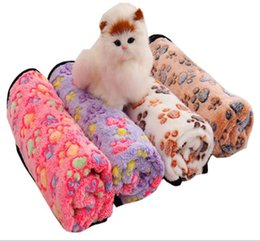 multi beds 2020 - Pet blanket Colorful Claw Printed Cat Dog Blankets Coral velvet Soft warm puppy Throws Pet Sleeping mat Bed Cover CLS550