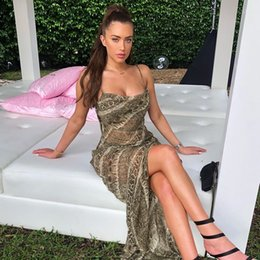 leopard print bodycon dresses Canada - Leopard print backless lace up bodycon mini dress 2019 women sexy snakeskin Chiffon Long Dress One Piece ultra-thin braces skirt Backless
