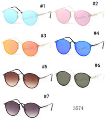 blue mirrored designer sunglasses 2019 - 2019 Brand Designer Fashion Men and Women Sunglasses Round lens UV Protection Vintage Colorful color Sunglasses Retro Ey