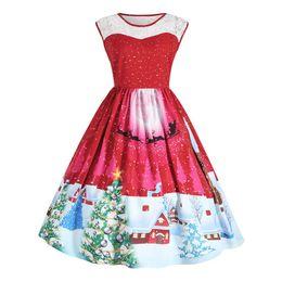 116dd819c415c S-3XL Xmas fashion wear Plus size Womens Christmas party Dress Pullover A  Line Hepburn style retro dress a7