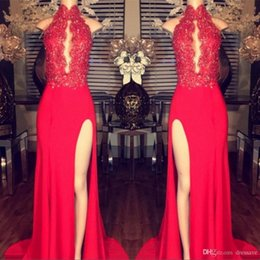 $enCountryForm.capitalKeyWord Canada - 2019 Red Chiffon Side Split Prom Dresses Sheath High Collar Plunging Keyhole Neck Lace Appliques Beaded Long Evening Pageant Gowns