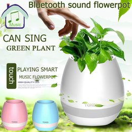 Pot Speaker Australia - CDT 1pc Smart Bluetooth Music Flower Pot Speaker With Light Touch Plant Can Sing Several Songs for Home Office Decoration