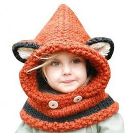 806b05736 Children Fox Ear scarf cap 2 in 1 Kids Girls Warm Knitted Hats Cute cartoon  warmer Winter crochet Hat Beanies AAA1610