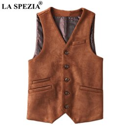 $enCountryForm.capitalKeyWord Australia - LA SPEZIA Artificial Leather Vest Men Brown Suede Fabric Waistcoat Spring Male Slim Fit Suit Vest Sleeveless Jacket Asia Size