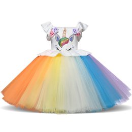 5c215560d7 Girls Ruffle Bubble Dress UK - Party Dresses Girls Princess Tutu Mesh Dress  Colorful Ball Gown