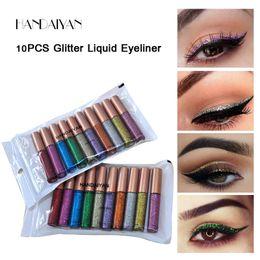 Handaiyan Glitter Жидкая подводка для глаз 10 цветов / сумка металлический блеск на Распродаже