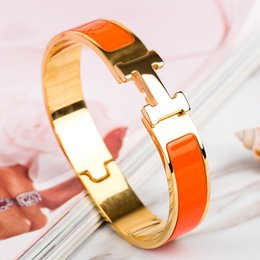 Claw bar online shopping - Luxury Stainless Steel Cuff Bracelets Bangles Wristband Enamel Bangle H Gold Buckle Classic Brand Bracelets