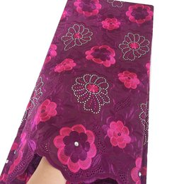 Cotton Dry Lace Australia - African Voile Cotton Swiss Dry Lace Fabrics High Quality Cotton Lace Fabric 2019 Magenta Lilac Latest Nigeria Lace Fabric 2018