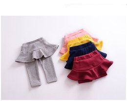 Baby Cotton Winter Tights Pants Canada - New Autumn And Winter Children girls Candy colors Leggings Fake two pieces Skirt pants baby Tights High qulity Pants Kids Clothing B11