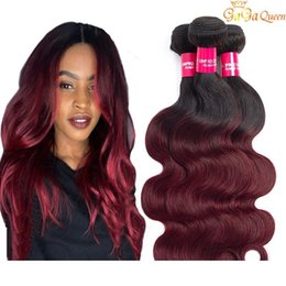 Brazilian Ombre Hair 1B 99J Body Wave 3 Bundles Unprocessed Grade 8A Burgundy Wine Red Ombre Human Hair Weaves Extensions Length 10-24 Inch