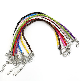 cow gold charm UK - Wholesale-Mixed Color Braided Cow Leather Bracelet Cord Bracelets fit Charm Bracelet Jewelry Making Wristband DIY Handmade 18cm 10pcs lot