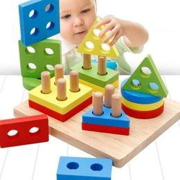 $enCountryForm.capitalKeyWord Australia - Baby Kids Rainbow Wooden Column Blocks Sets Educational Geometric Shape Matching Toys for Children Animal Stacking