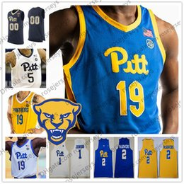 74cd2cf83be4 Custom Pittsburgh Panthers PITT Navy Blue White Yellow Royal Any Name  Number 1 Xavier Johnson 2 Trey McGowens 3 Malik Ellison 2019 Jerseys