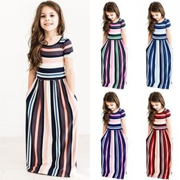 Baby Maxi Cotton Australia - Baby Girls Long Dress Color Striped Tunic Maxi Dresses Short Sleeve Princess Dress Summer Bohemian Beach Dresses Kids Clothes 80-140cm C3212