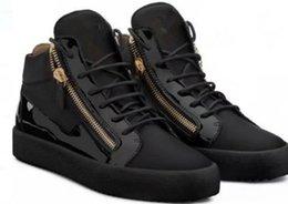 2019 zanotty marca de alta qualidade dos homens e das mulheres sapatos de couro de crocodilo preto de alta top sapatos casuais guiseppes caixa original em Promoção