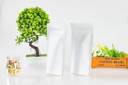Best White Bags Australia - 50pcs resealable white kraft paper standing up zipper bag solid color food storage packing pouch food grade packaging bag with best quality
