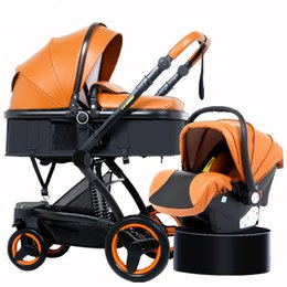 China Baby stroller eco leather PU 3 in1 Safety seat high landscape stroller can sit. Lay folded two-way baby Free shipping supplier stroller safety suppliers
