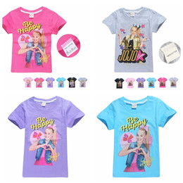 Wholesale tops for teens resale online - JOJO Siwa Cotton Print T Shirts for Girls Summer Short Sleeve T shirt Kids Girl Tees Teens Tops Children Clothes kids clothing KKA6977