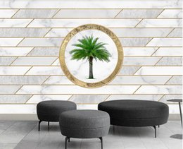 Wholesale designing wallpaper resale online - 3d photo wallpaper custom mural Geometric marble Mosaic brick wall design creative gold TV background wall wallpaper for walls d