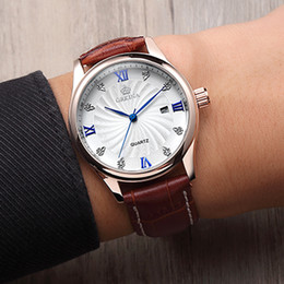 Discount men classic leather gold watch - Orkina Fashion Luxury Casual Brand Mens Watches 3ATM Waterproof Quartz Diamonds Date Leather Wristwatch for Men Dress Cl