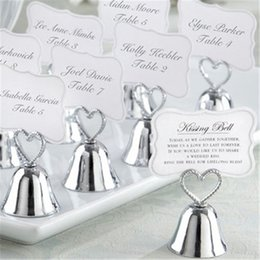 silver wedding bell place card holders NZ - Kissing Bell Silver Bell Place Card Holder Photo Holder Wedding Table Decoration Guest Favors for Wedding