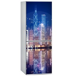 China Fridge Wrap  Bright City Scenery  Removable Self Adhesive Vinyl  Peel and Stick Decal Wallpaper cheap package toilet suppliers