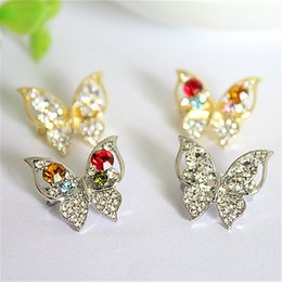 wholesale rhinestone brooches Australia - Top Quality New Arrival Fashion Silver Crystal Rhinestones Butterfly Women Wedding Brooches Pins For Women 4 Colors