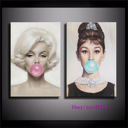 $enCountryForm.capitalKeyWord Australia - Audrey Hepburn, Bubble Gum,Michael Moebius - Marilyn Monroe,2 Pieces Canvas Prints Wall Art Oil Painting Home Decor (Unframed Framed)