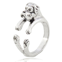 China Antique Silver Boho Cute Boxer Dog Ring For Women Anel Girls Adjustable Retro Animal Couple Ring Men Children Baby Jewelry Wholesale Bulk suppliers