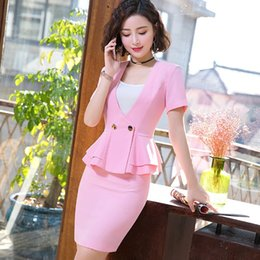Ladies Work Uniforms Australia - IZICFLY Summer Women Clothes 2019 Formal Ladies Office Uniform Pink Elegant Mantelpakje Vrouwen Business Skirt Suit Formal Wear