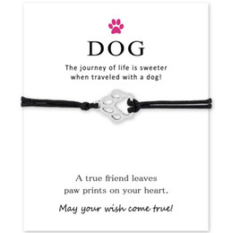 Love Cards Australia - new Custom-Silver Infinity Love Dog Paw Prints Wish Card Bracelet for Women Girls Adjustable Friendship Bracelets