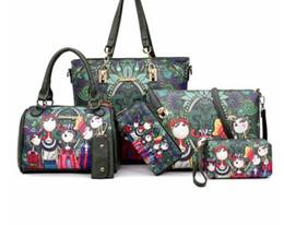 $enCountryForm.capitalKeyWord Australia - Hand Bags 6 Pcs Set Women Bag Female PU Leather Shoulder Bag Key Handbags And Purses Cartoon Pattern Large Totes