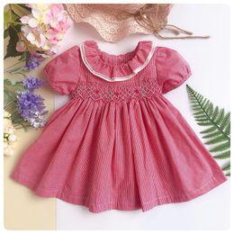 38f32c3797 Infant newborn baby smocked dress Kids Dresses For Girls Dress cotton summer  toddler girl clothes Princess girls flower dresses