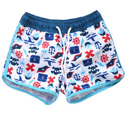 Wholesale Trunks Canada - Boys swim trunks kids pirates shark floral printed shorts children lace-up elastic swim trunks 2019 summer boys cartoon board shorts F3622