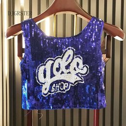 $enCountryForm.capitalKeyWord Australia - Djgrster Women Stage Performance Tops Sequined Letter Sexy Girl Hip Hop Clothing Female Costumes Loose Jazz Dance Shirts Y19042801