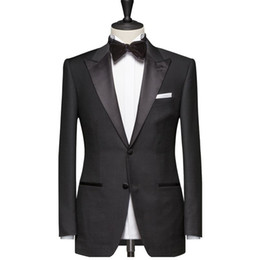 white blue tuxedo for prom UK - Black Men Suits for Wedding Prom Groom Tuxedos Peaked Lapel Slim Fit Man Suit Set 2 Piece Jacket Pants Custom Blazer