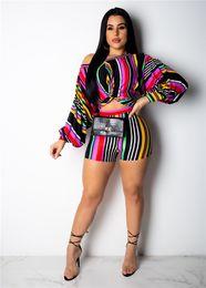 Puff Suits Australia - Girls Striped Slash Neck Puff Sleeve Pub Suit Sexy Dew Waist 2pcs Women Two Piece Summer Outfits
