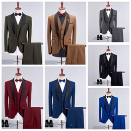 $enCountryForm.capitalKeyWord NZ - 2019 new Korean version of the men green fruit collar suit three-piece suit (jacket + vest + trousers)   groom groomsmen official Tuxedos