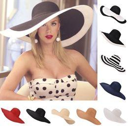 $enCountryForm.capitalKeyWord NZ - Huge Brim Sun Hats 7.1'' 18cm Paper Straw Summer Hats For Womens Ladies Uv Protect Floppy Beach Hats Kentucky Derby Party Dress Y19070503