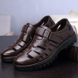 Black Leather Sandals For Men Australia - Fashionable Mens Leather Sandal Summer Hook Loop Hollow Black Shoes For Men Sewing Massage Driving Shoes Male Zuecos Hombre