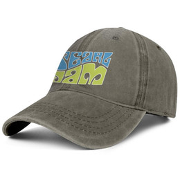 vintage man hat UK - Men Women vintage Denim cap Washed Adjustable Pearl Jam blue and green custom fishing hat Youth Dad cap Outdoor