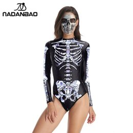 skull piece swimsuit NZ - NADANBAO Long Sleeve Swimsuit Women One Piece Swimsuit 3d Printed Halloween Skull Skeleton Swimming Bathing Suit Women