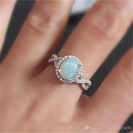 Ring Tin Australia - OPAL Silver Rings Women rings Vintage Fashion Wedding Jewelry Birthstone girl gifts FREE SHIPPING Size:6-10#
