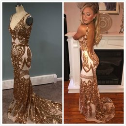 $enCountryForm.capitalKeyWord NZ - 2019 Arabic Aso Ebi Gold Sexy Evening Dresses Backless Mermaid Sequined Prom Dresses Cheap Formal Party Bridesmaid Pageant Gowns ZJ743