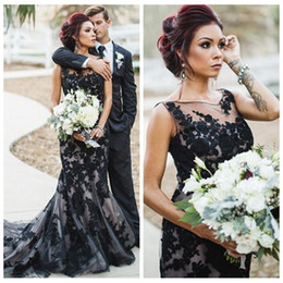 black gothic mermaid wedding dresses UK - Sheer Lace Appliques Slim Mermaid Wedding Dresses Gothic Black Garden Bridal Gowns Custom Women Vestidos De Marriage Mariee For Wedding 2019