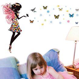 Fairy Bathroom Decor Australia - Fairy Girl Butterflies Mural Wall Sticker Vinyl Art Decal Kids Room Decor Creative DIY